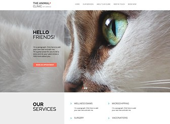 Animal Clinic Template - Welcome pet owners to your veterinary practice or animal clinic with this user friendly template. Add text descriptions to highlight services, treatments, and procedures. Play with color and make changes to the layout and design to express your professional vision.