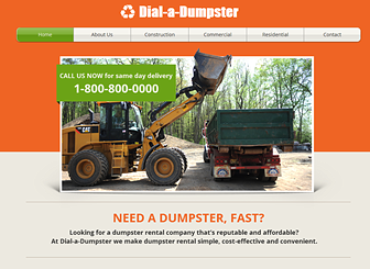 Dumpster Template - A dirty job calls for a clean and clutter-free template. Ideal for all construction, storage, and manufacturing businesses, this website features a simple layout and no-nonsense design. Add text and upload photos to advertise your services and rates.