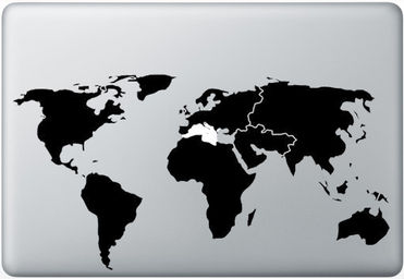 for macbook funny humor decal sticker world map 990