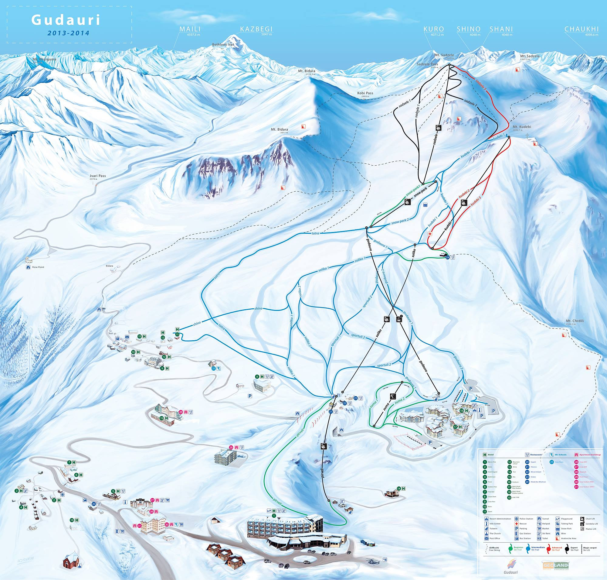 Карта Склонов Гудаури