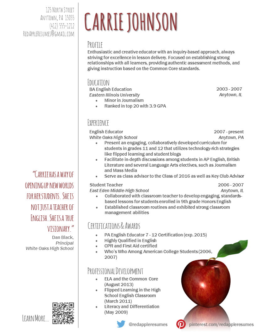Example of a teacher resume