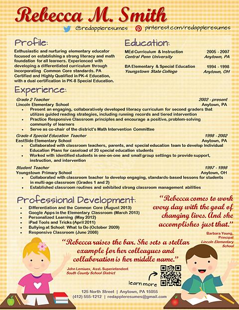 Creative Resume Templates & Custom Resume Service for Teachers