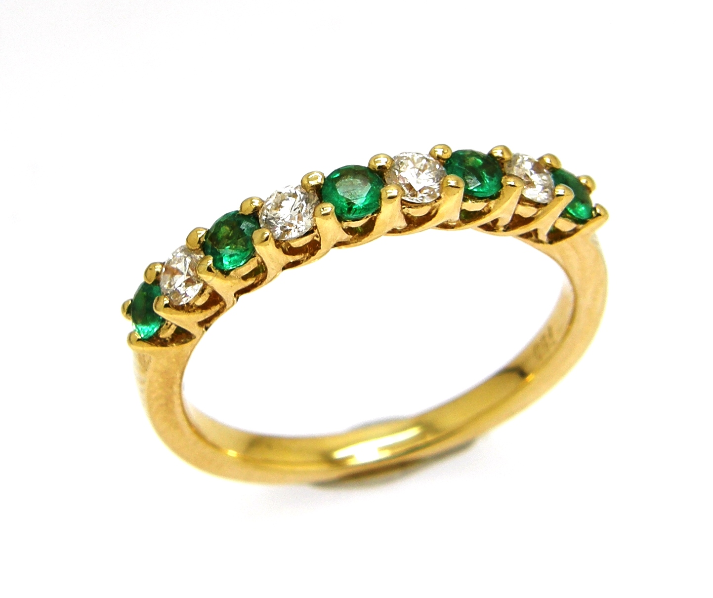 18ct yellow gold emerald claw set ring blooms