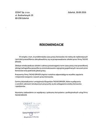 rekomendacje CEKOL-CEDAT dla TACHO DRIVE