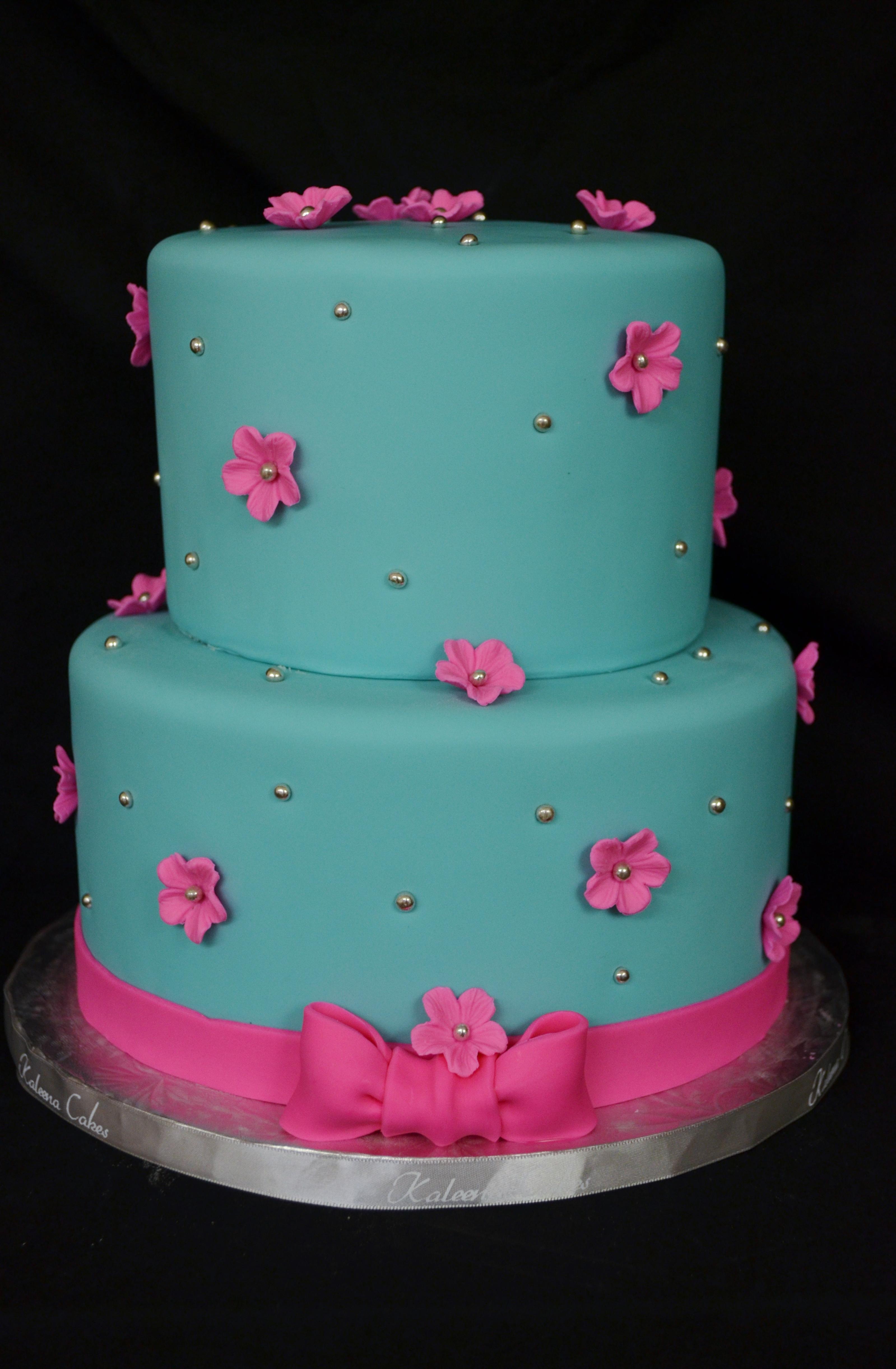 Teal Birthday Cake