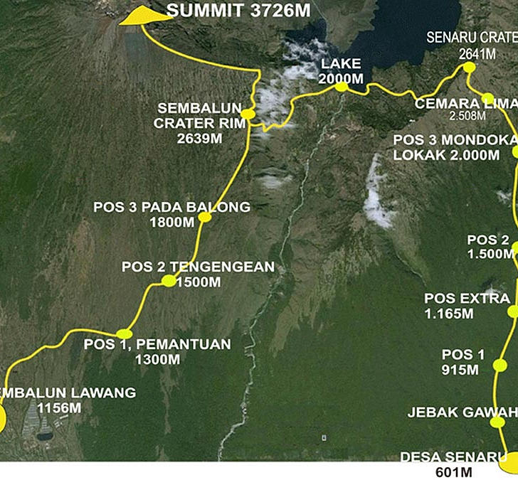 Map of the routes to the Rinjani summit