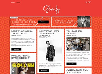 Entertainment Blog Template - Have some hot-off-the-press gossip? Want to share your views on the latest celebrity trends? If you love to share celebrity gossip and entertainment then this is the perfect blog template for you! With bright and contrasting colors and a stylish masonry blog layout, this is a fabulous template for anyone wishing to make a a lasting impression!  Start customizing now to create a memorable entertainment blog!