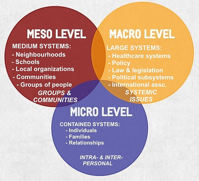 the micro meso and macro level Bronfenbrenner's macrosystem the macrosystem is the fourth level of bronfenbrenner's theory cultural values, health, and public policy and laws are all part of the macrosystem.