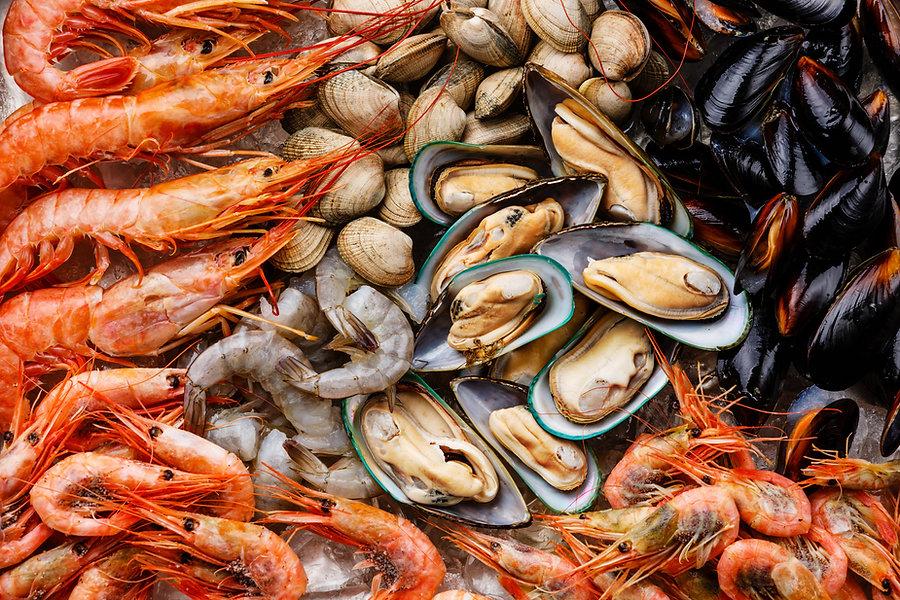 Meeresfrüchte Shrims und Muscheln