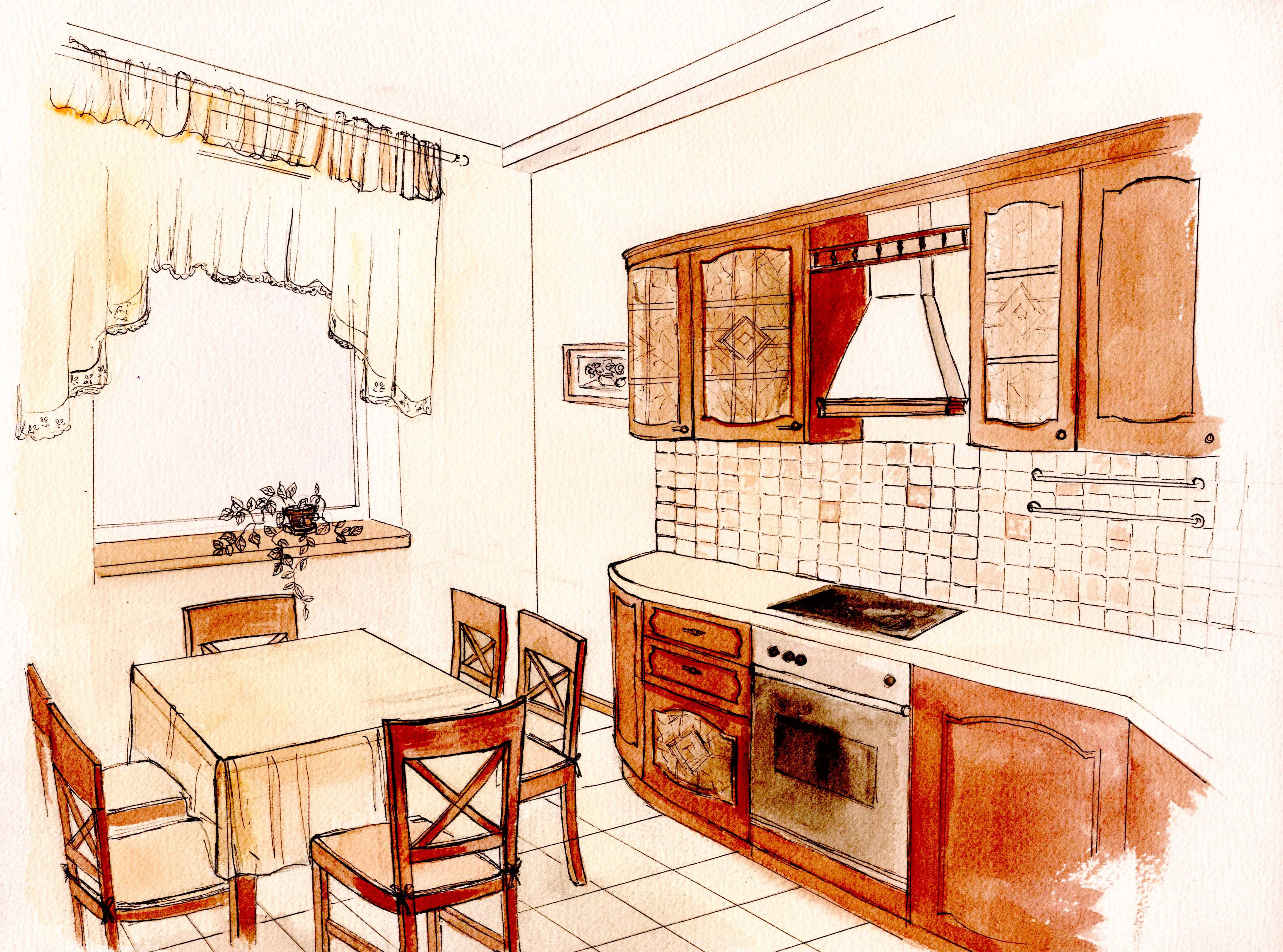 Дизайн кухни эскизы