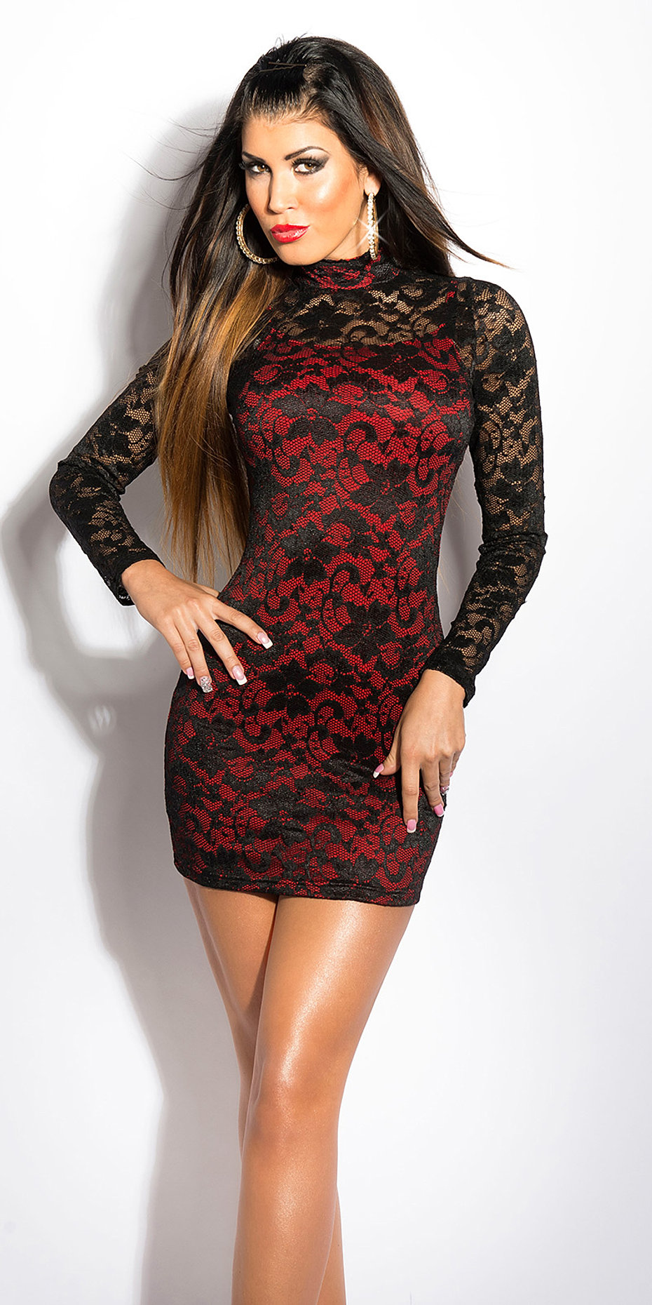 ooKouCla_minidress_bi-coloured_with_lace__Color_BLACKRED_Size_Onesize_0000IN5015