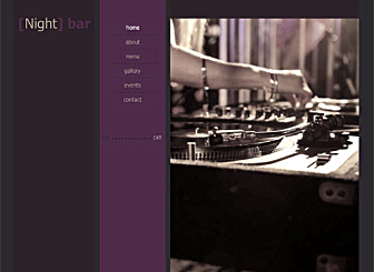 Night Bar Template - Potential online customers need a taste of your place before they come to visit? Entice them in with your favorite music, inform them on upcoming events, and add a beautiful Flash image gallery of all the great events you already had and your unique menu.