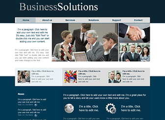 Business Services Template - A classic and sleek website template awaits your consulting, financial, or corporate company. Describe your services and qualifications and customize the design to suit your taste. Start editing to take your firm to the next level!