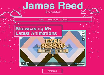 Animator Template - Grab attention with the dynamic background and vivid color scheme of this free template. Take advantage of the abundant space for multimedia content to build an online portfolio that displays the full range of your creative work.
