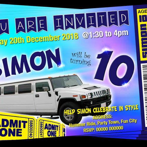 Grandwazoodesign invitations birthdays bus limousine hummer party hummer ride white party invitation ticket style stopboris Image collections