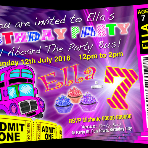 Grandwazoodesign invitations birthdays bus limousine hummer party party bus pink cup cake birthday invitation ticket style stopboris Image collections