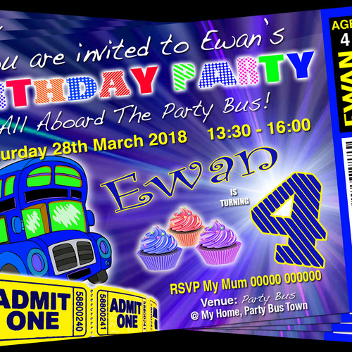 Grandwazoodesign invitations birthdays bus limousine hummer party party bus blue cup cake birthday invitation ticket style stopboris Image collections