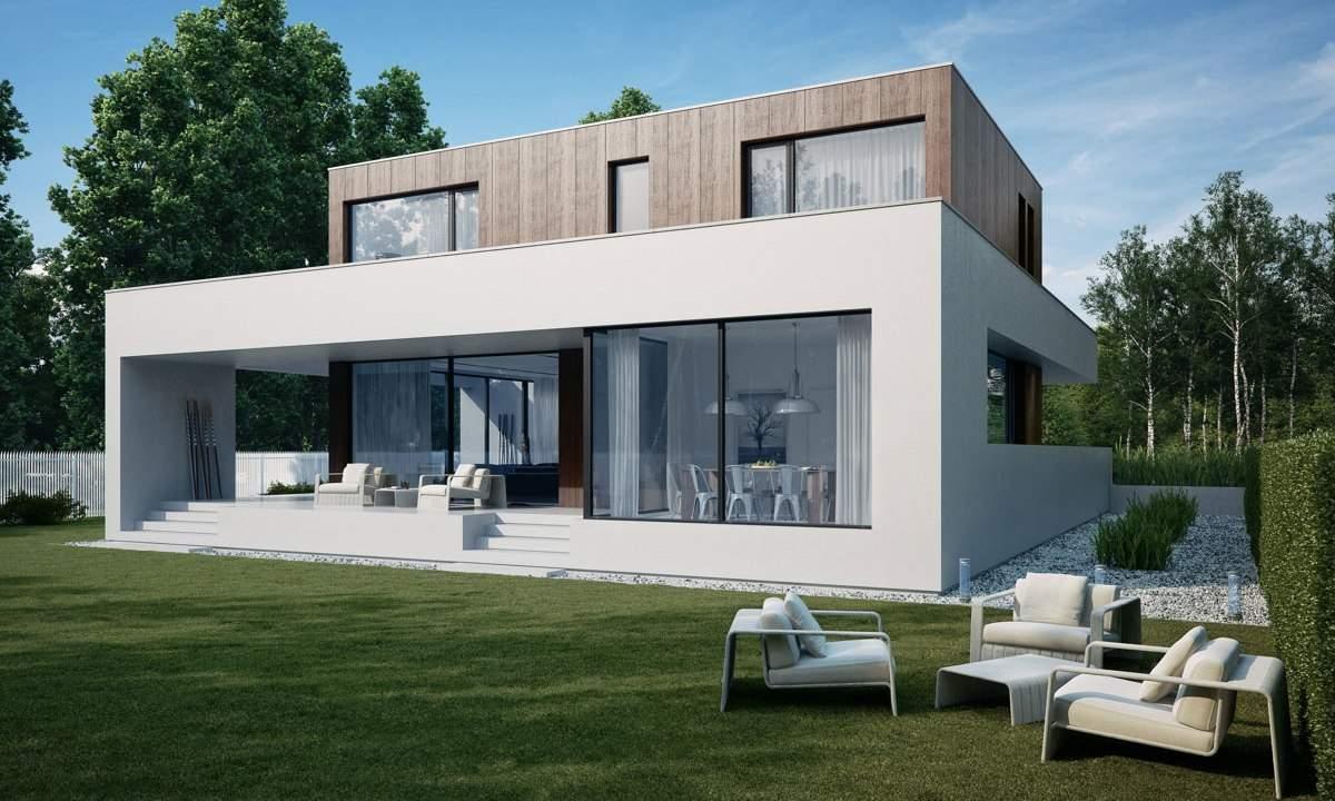 Casa moderna con portico top casa moderna con tetto in legno con case con tetto in legno - Casa prefabbricata moderna ...