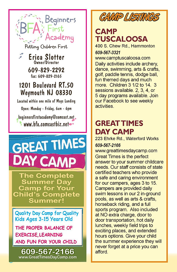 jersey shore family summer camps