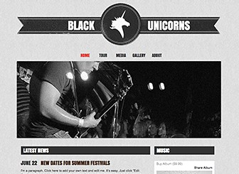 Bands and Musicians Template - Customize this hip and grungy template to promote your up-and-coming band.  Upload videos and songs, spread the word about gigs, and share news with your fans. Customize the design and color scheme to capture your band's unique vibe!