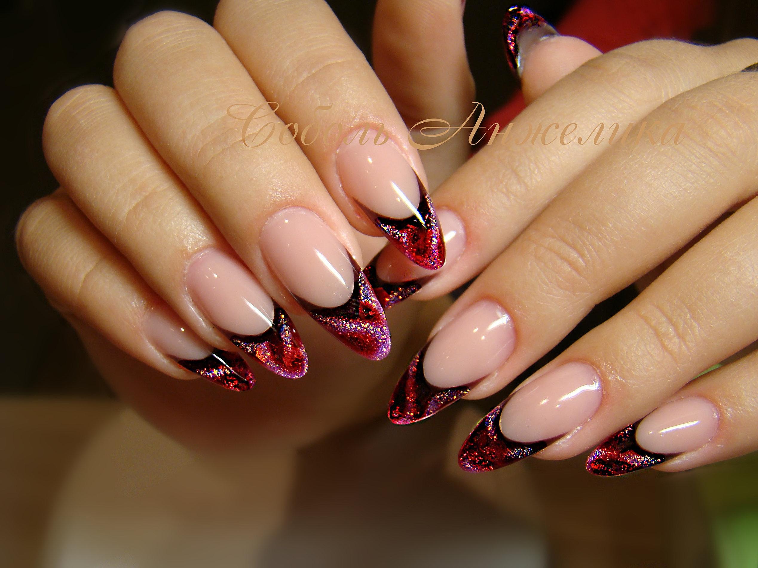 Френч на наложенных ногтях фото