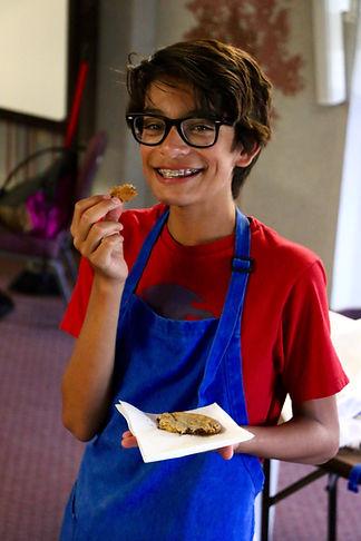 Eating cookie at Pine Springs Ranch