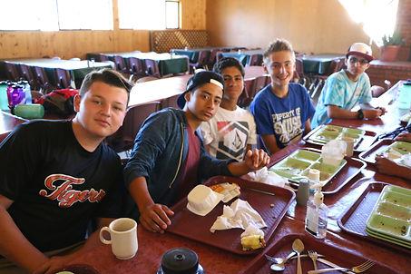 Boys at Pine Springs Ranch enjoy their food