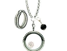Large Locket and Matching Earrings