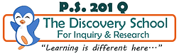 """P.S. 201 Q, The Discovery School for Inquiry and Research, """"Learning is different here"""" Logo"""
