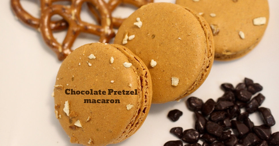 Chocolate Pretzel macaron