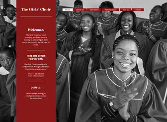 The Girls' Choir  Template - Give your choir or musical organization an online presence with this friendly website template. Customize the full-screen background to express the spirit of your group and add text to promote upcoming performances.Craft a vibrant website in harmony with your sound!