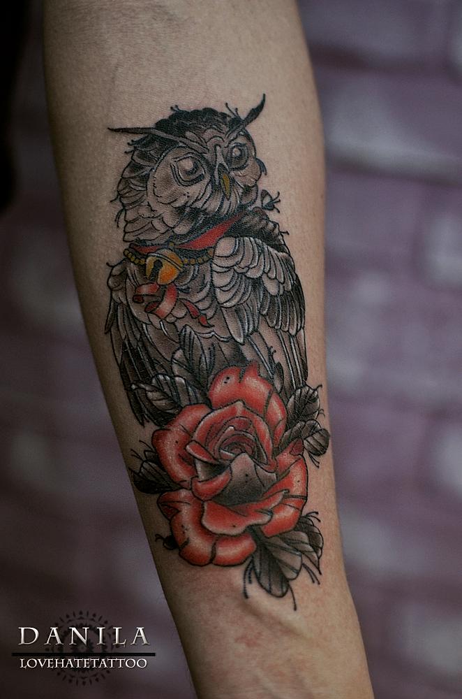 LoveHateTattoo   Тату-студия   Челябинск   Tattoo owl with