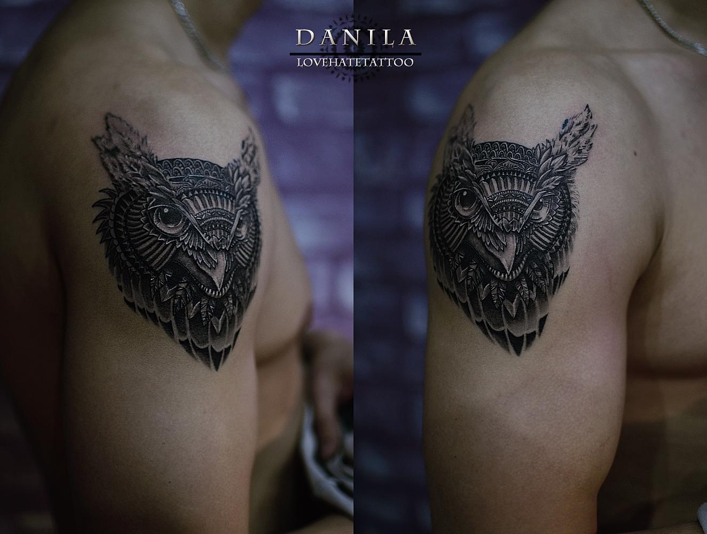 Татуировки сова на плечо