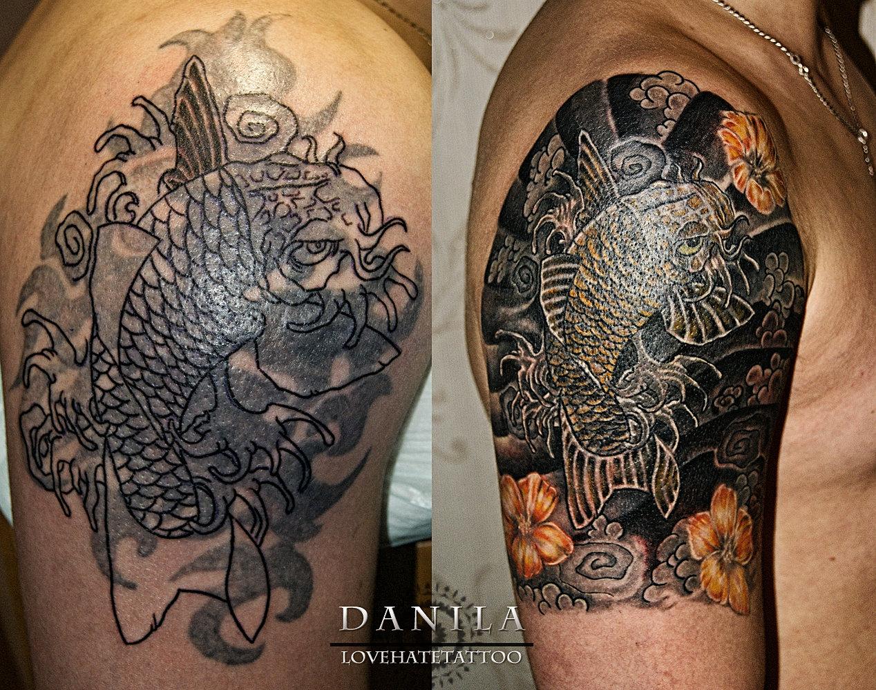 Тату японский стиль драконы перекрытие старых татуировок