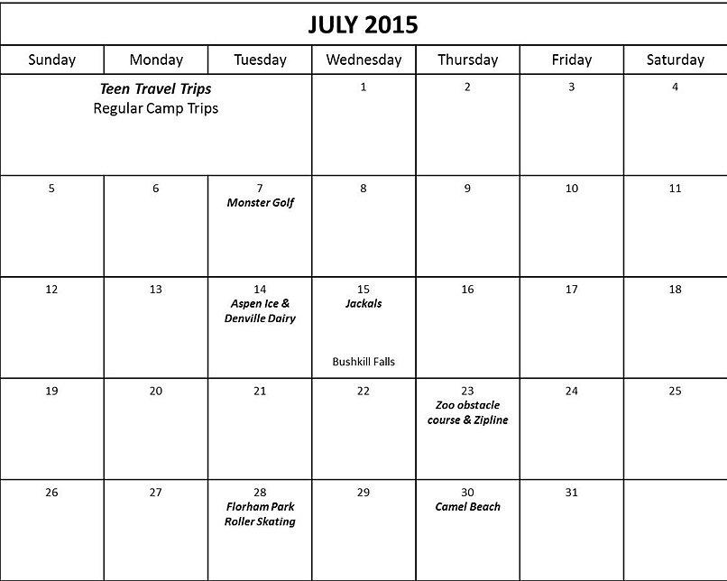 Blank Calendar Events : Calendar of events