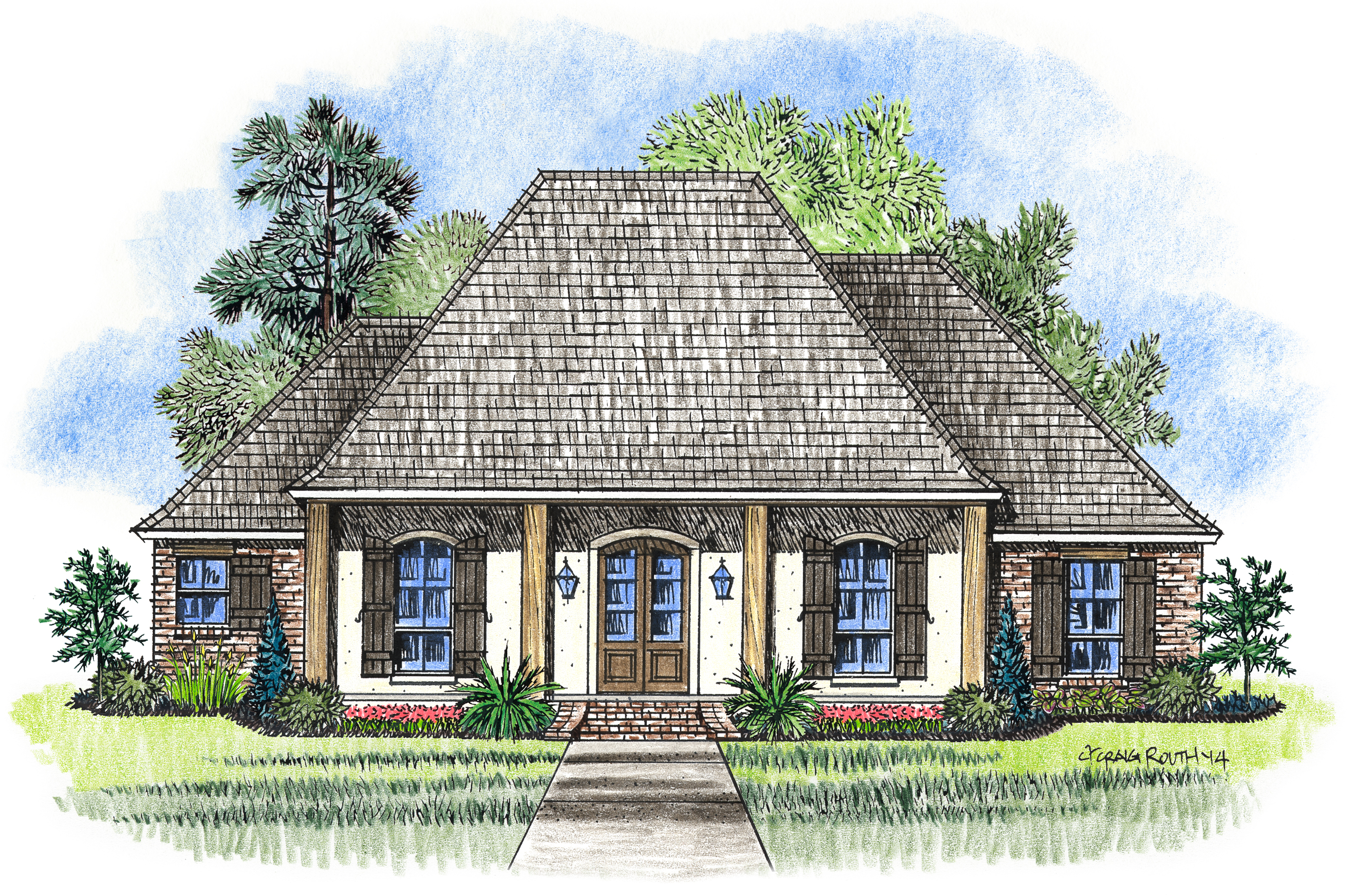The willow madden home design acadian house plans for Acadian country house plans