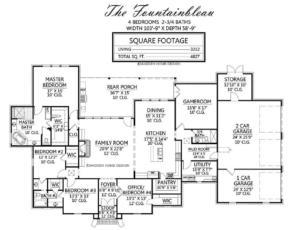 Madden home design the fountainbleau for Madden house plans