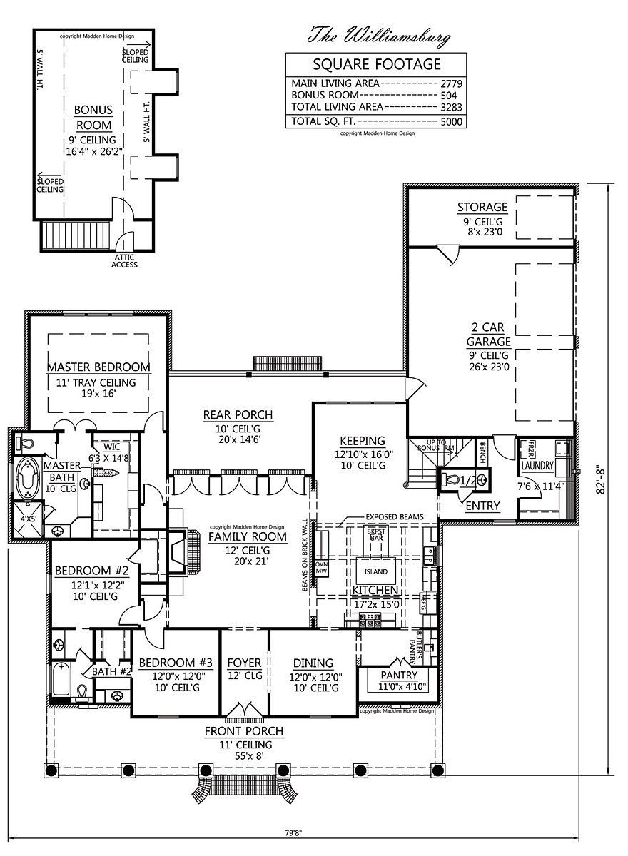 Madden home design the williamsburg 2 story acadian house plans