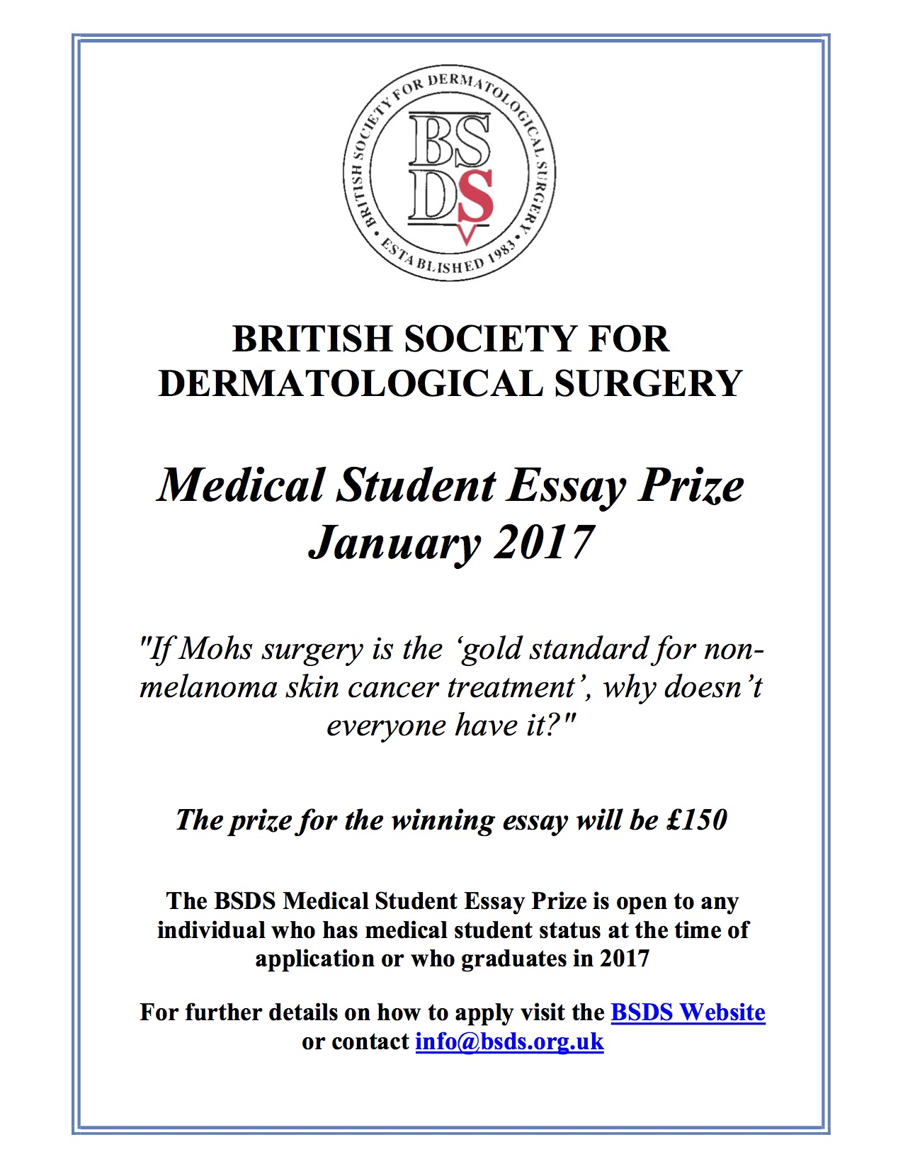 medical essay prizes The unofficial guide to medicine essay competition that we decided to award prizes to essays which were highly final year medical student at.