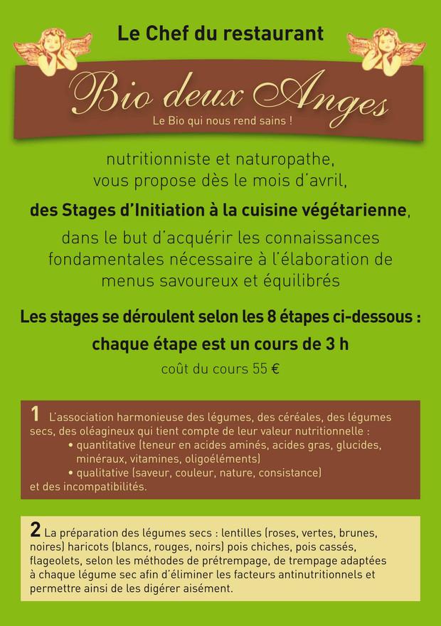 COURS DE CUISINE VÉGÉTARIENNE Restaurant Végétarien Bio Deux Anges - Cours de cuisine vegetarienne