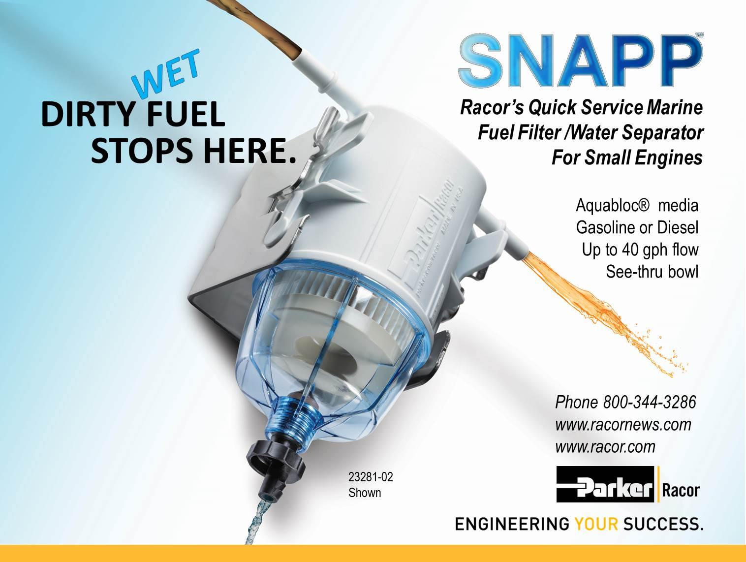 Dirty Wet Fuel Stops Here Snapp Racor News Small Engine Filter Installation