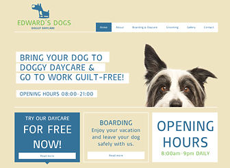 Dog Day Care Template - This template's playful vibe makes it ideal for businesses in the pet care industry. Add text and upload photos to advertise your services, rates, and facilities. Start editing to create a vibrant website that stands out from the crowd!