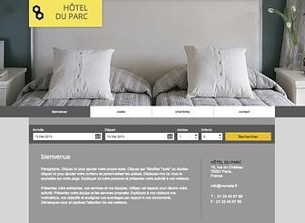 Boutique Hôtel Template - Tout le luxe de votre hôtel se dégage de cet élégant template. Attirez l'attention sur vos chambres, tarifs et équipements en téléchargeant des photos et en ajoutant du texte. Commencez à modifier votre site dès aujourd'hui pour établir votre présence sur le Web !