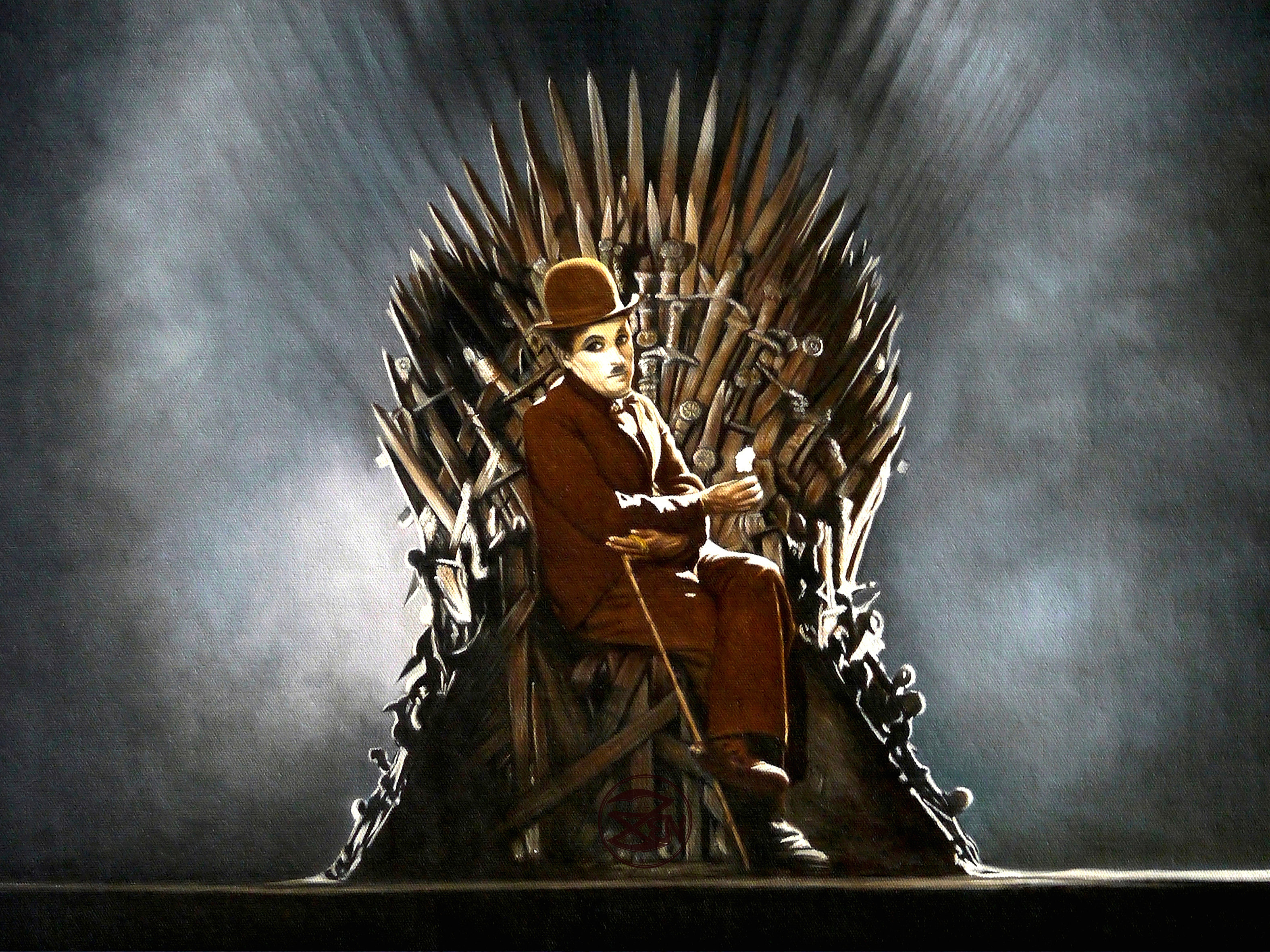 Zen o 39 conor classical realist art charlie chaplin iron for Iron throne painting