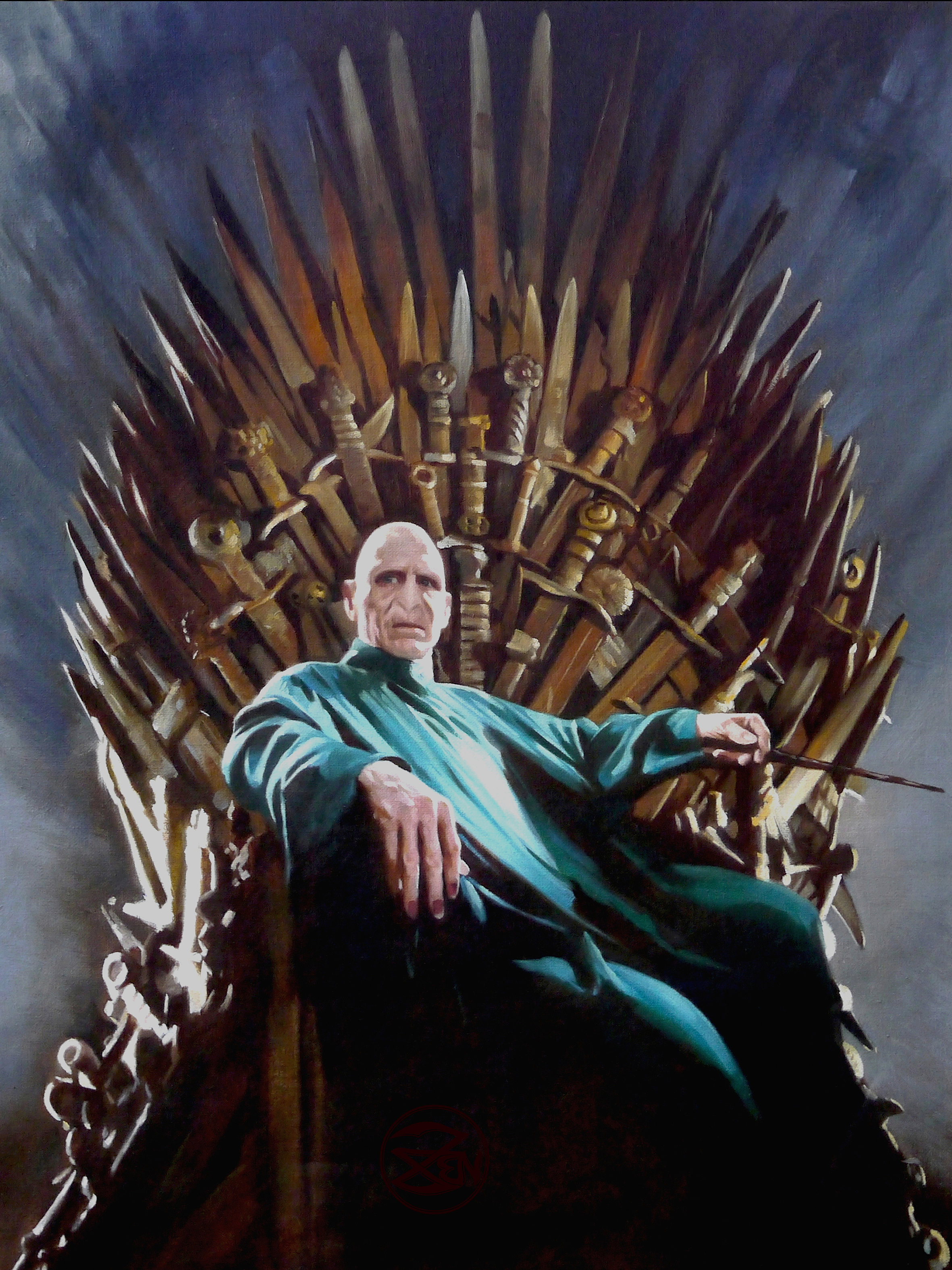Zen o 39 conor classical realist art voldemort iron for Iron throne painting