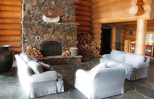 Grand Fireplace with Montana Rock