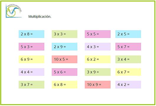 Actividades tablas de multiplicar tercero primaria