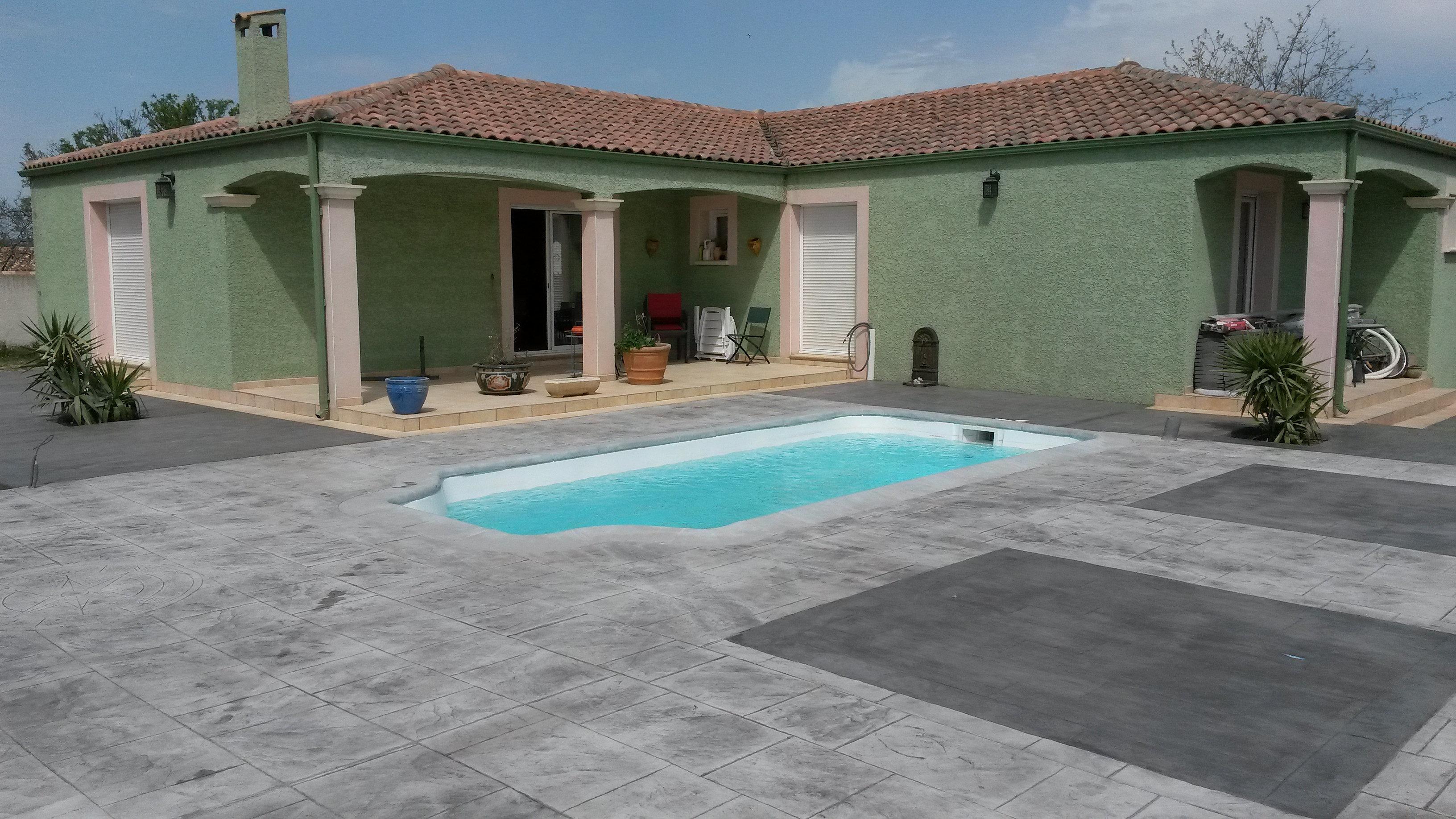 B ton imprim b ton marqu 66 plage de piscine en 2 couleurs - Plage de piscine en beton ...