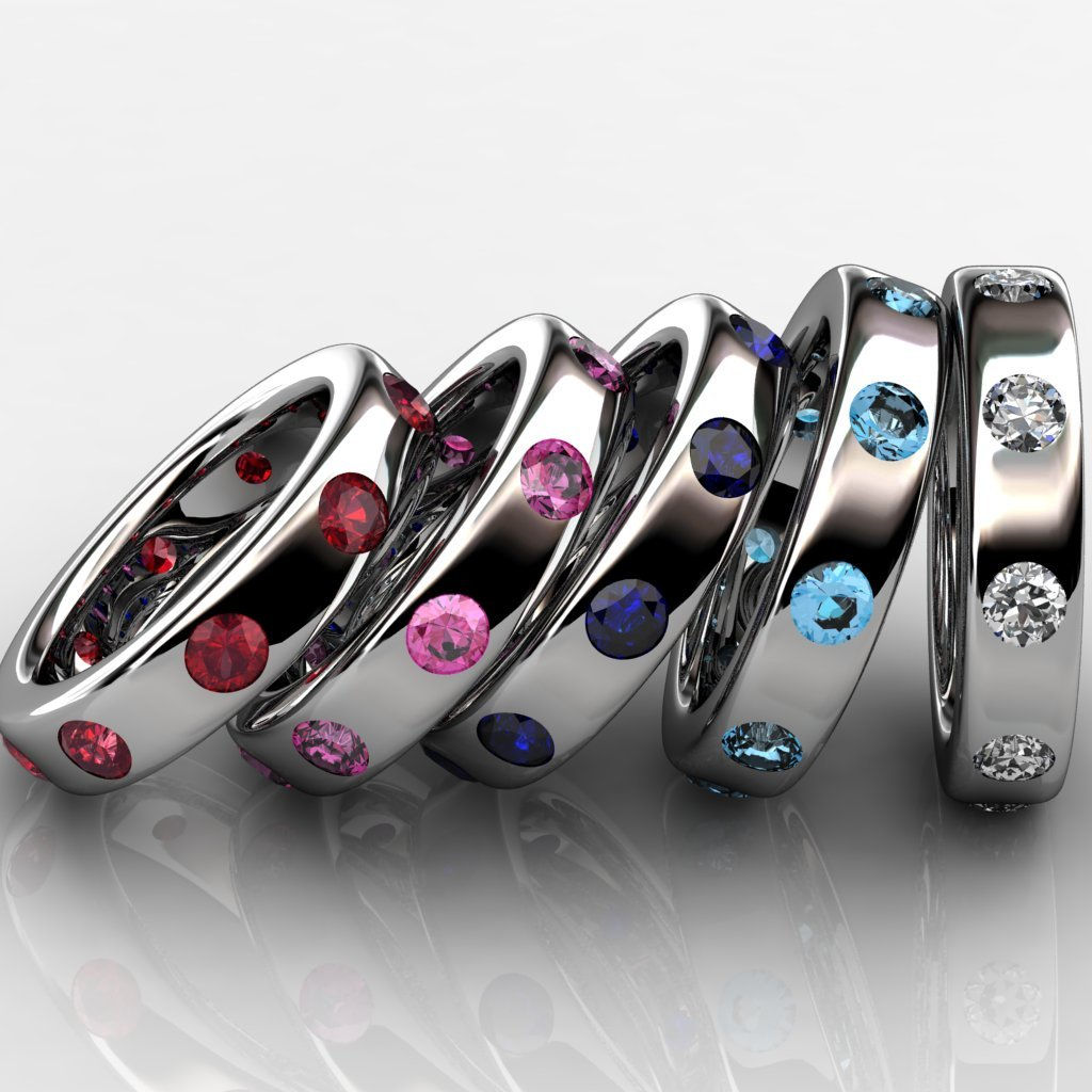Coloured stone platinum bands