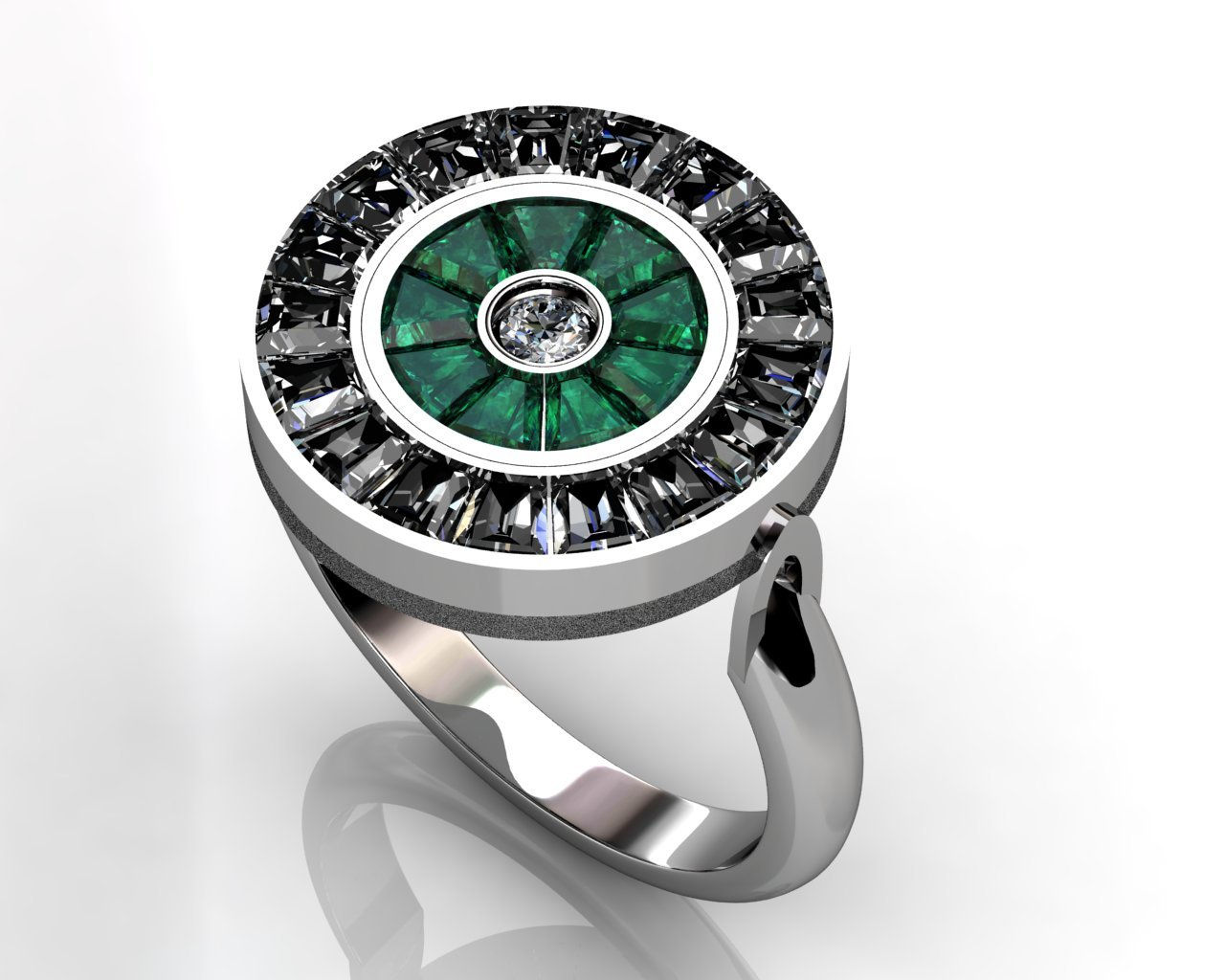 Emerald and diamond flip ring